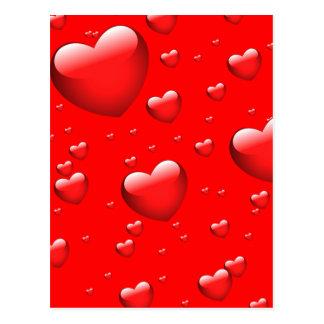 Teste padrão de flutuação dos corações cartão postal