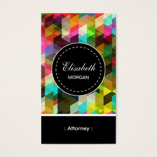 Teste padrão de mosaico colorido do advogado cartão de visitas