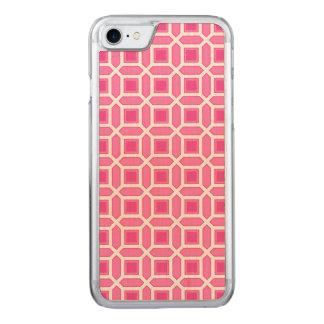Teste padrão de mosaico do rosa quente e do branco capa iPhone 7 carved