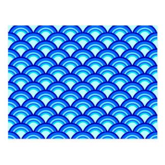 Teste padrão de onda do art deco - cobalto e cartão postal