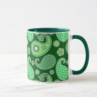 Teste padrão de Paisley, esmeralda e verde de jade Caneca