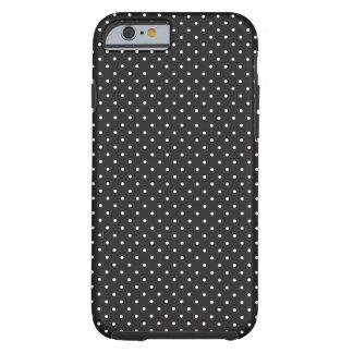 Teste padrão de pontos preto e branco elegante do capa para iPhone 6 tough