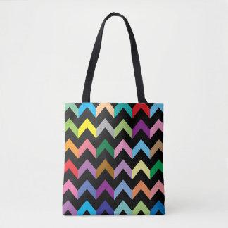Teste padrão de ziguezague colorido bolsas tote