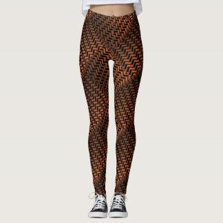 Teste padrão de ziguezague de bronze selvagem da leggings