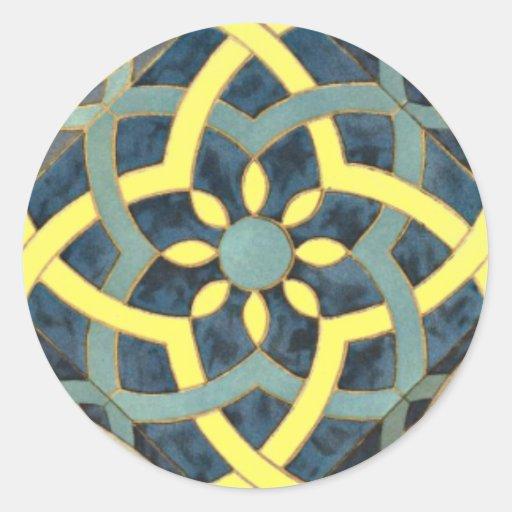Teste padrão do azulejo de mosaico alguma cor adesivo em formato redondo