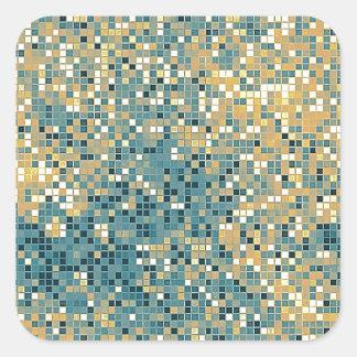 Teste padrão do azulejo do azul e do amarelo adesivo quadrado