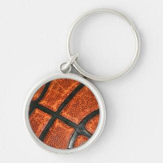 Teste padrão do basquetebol chaveiro redondo na cor prata
