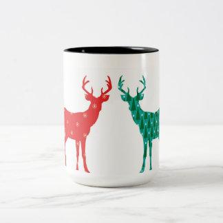 Teste padrão do Natal do fanfarrão dos cervos - Caneca De Café Em Dois Tons
