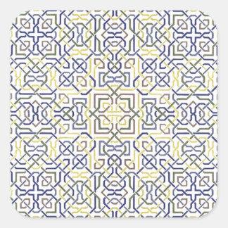 Teste padrão do Oriente Médio do azulejo no azul e Adesivo Quadrado