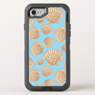 Teste padrão do Seashell do estilo do vintage Capa Para iPhone 8/7 OtterBox Defender