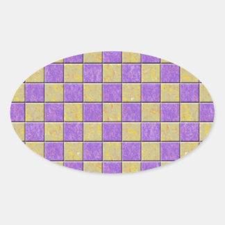 Teste padrão dos azulejos de mosaico roxo e amarel adesivo