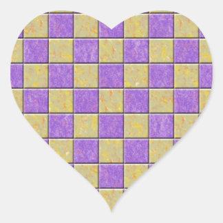 Teste padrão dos azulejos de mosaico roxo e amarel adesivo de coração