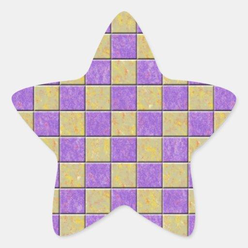 Teste padrão dos azulejos de mosaico roxo e adesivos estrelas