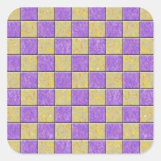 Teste padrão dos azulejos de mosaico roxo e adesivos quadrados
