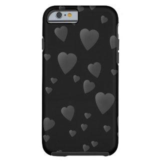 Teste padrão dos corações do amor em preto e no capa para iPhone 6 tough