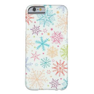 Teste padrão dos flocos de neve do Doodle Capa iPhone 6 Barely There