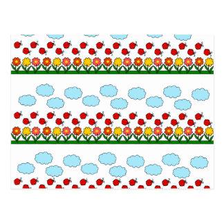 Teste padrão dos joaninhas e de flores cartão postal
