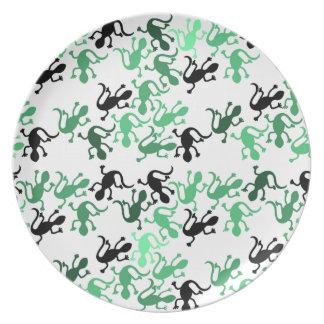 Teste padrão dos lagartos verdes pratos de festas