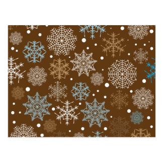Teste padrão engraçado dos flocos de neve de Brown Cartão Postal