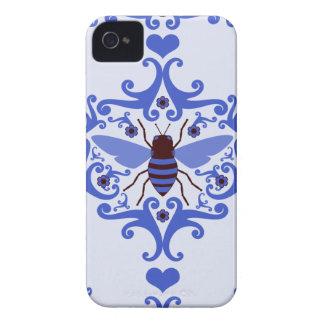 Teste padrão feminino da natureza do damasco azul capas para iPhone 4 Case-Mate