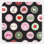 Teste padrão feminino do amor cor-de-rosa de Paris Adesivo Quadrado