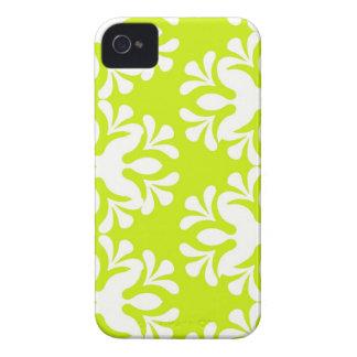 Teste padrão feminino floral do damasco de néon do capas para iPhone 4 Case-Mate