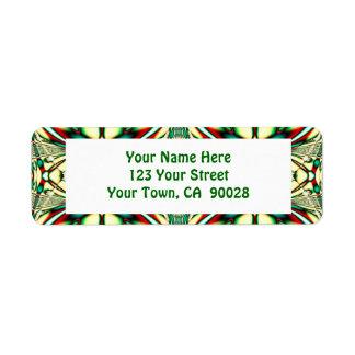 teste padrão festivo verde etiqueta endereço de retorno