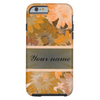 Teste padrão floral alaranjado capa tough para iPhone 6