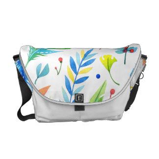 Teste padrão floral Azul-Alaranjado na moda da Bolsas Mensageiro