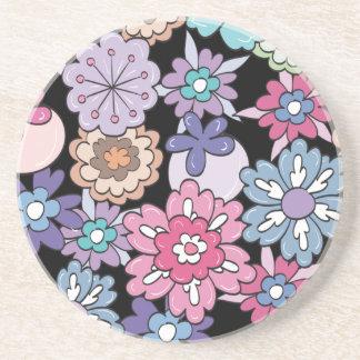 Teste padrão floral colorido porta copos de arenito
