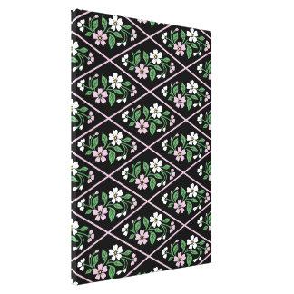 Teste padrão floral cor-de-rosa e branco preto impressão em tela