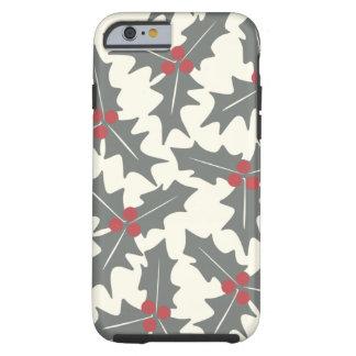 Teste padrão floral do azevinho capa tough para iPhone 6