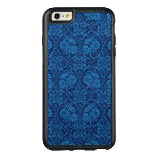 Teste padrão floral do laço do falso do azul de
