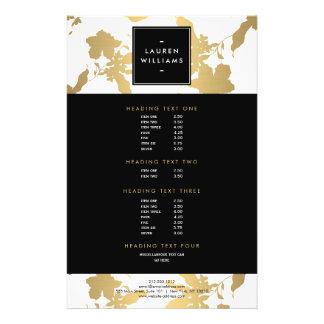 Teste padrão floral do ouro elegante no branco II Flyer 13.97 X 21.59cm