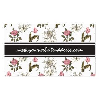 Teste padrão floral do vintage inglês velho do cartão de visita