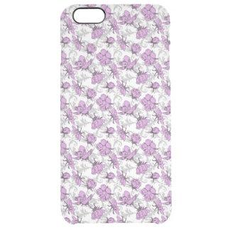 Teste padrão floral do vintage roxo e cinzento da capa para iPhone 6 plus clear