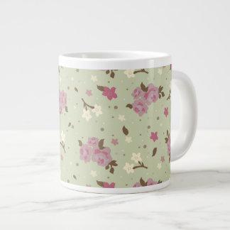 Teste padrão floral dos rosas cor-de-rosa elegante caneca de café gigante