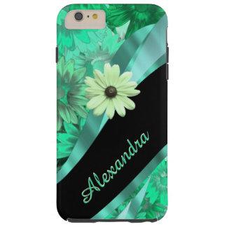 Teste padrão floral verde bonito personalizado capas iPhone 6 plus tough