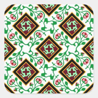 Teste padrão floral vermelho do azulejo de adesivo quadrado