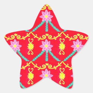 Teste padrão floral vermelho e amarelo do azulejo adesito estrela
