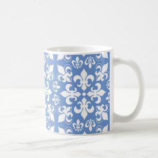 Teste padrão francês heráldico azul & branco da caneca