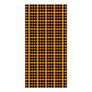 Teste padrão Fundo alaranjado com círculos pretos Cartoes Com Foto