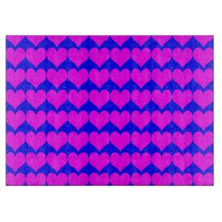 Teste padrão Fundo azul com corações cor-de-rosa