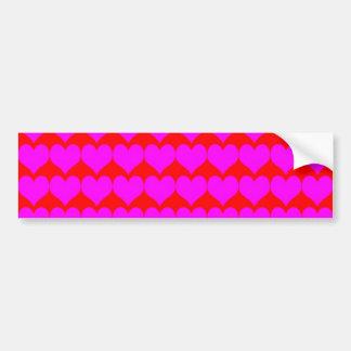 Teste padrão: Fundo vermelho com corações cor-de-r Adesivo Para Carro