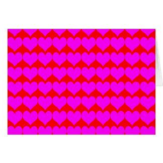 Teste padrão Fundo vermelho com corações cor-de-r Cartões