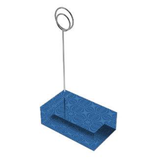 Teste padrão geométrico cruzado azul subtil suporte para cartao de mesa