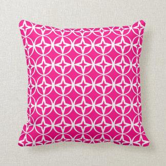 Teste padrão geométrico do rosa quente almofada