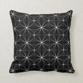 Teste padrão geométrico preto & branco travesseiro de decoração