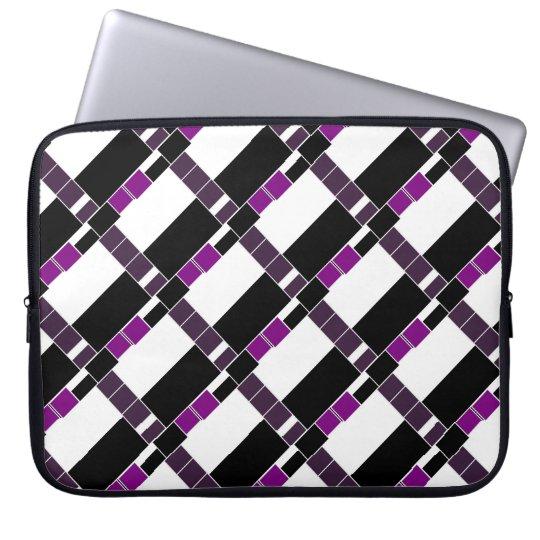 Teste padrão geométrico roxo e branco bolsas e capas para computadores