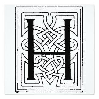 Teste padrão gótico preto e branco inicial do convites personalizados
